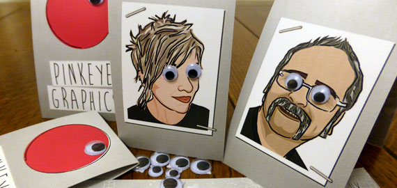 Pinkeye Graphics business cards - with googly eyes!